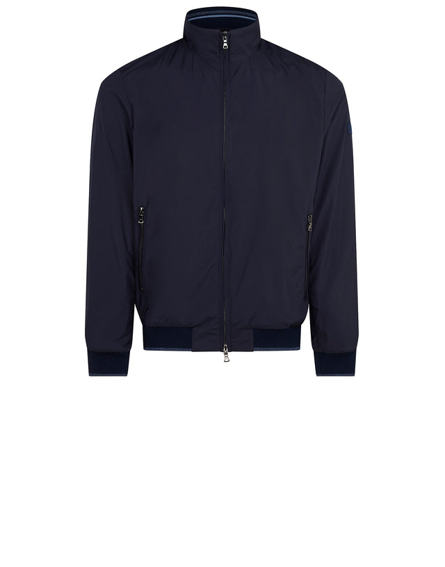 Funnel Neck Bomber Jacket in Blue