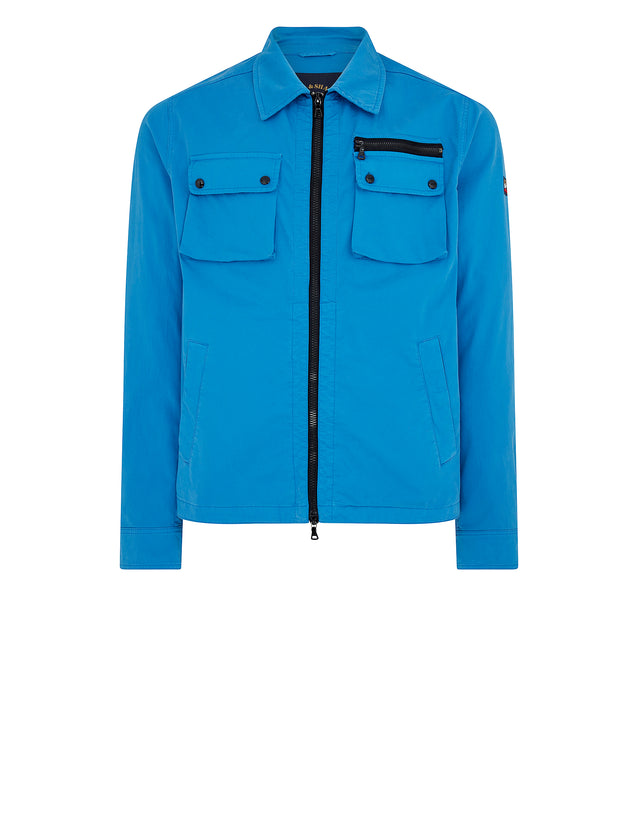 Cotton Overshirt Jacket in Light Blue