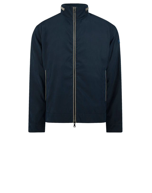 Short Nylon Jacket with Concealed Hood in Blue