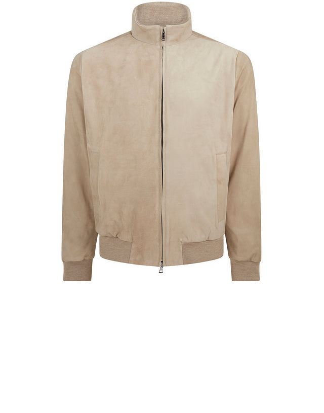 Water Repellent Leather Jacket in Beige