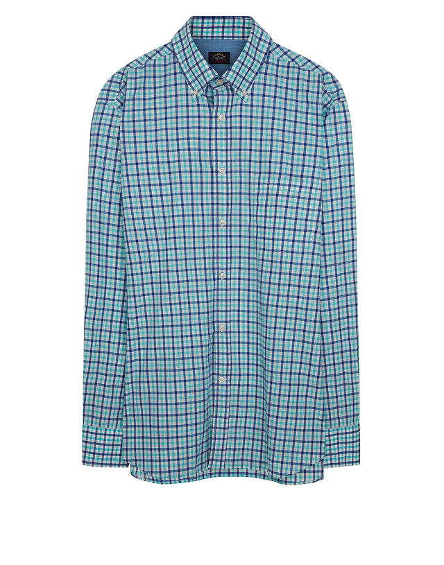 Button-Down Plaid Check Shirt in Blue