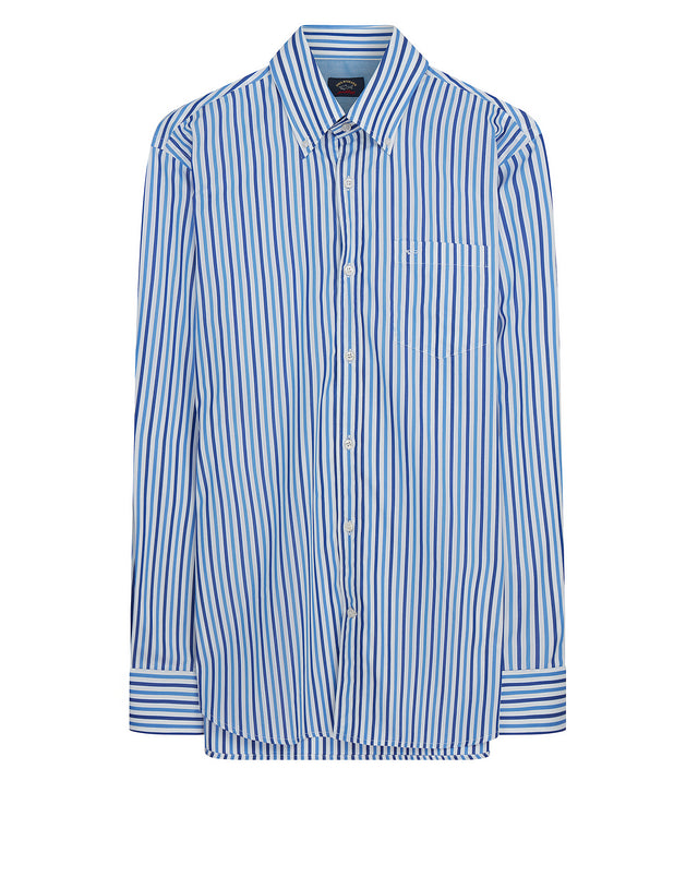 Button-Down Stripe Shirt in Blue/White