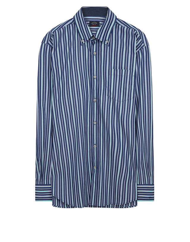 Button-Down Stripe Shirt in Blue