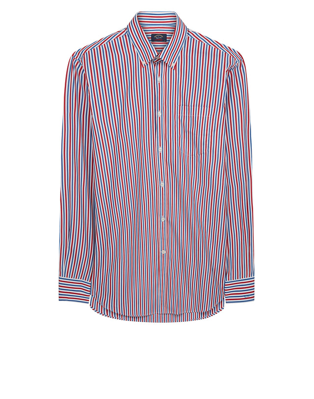 Button-Down Multi Stripe Shirt in Red
