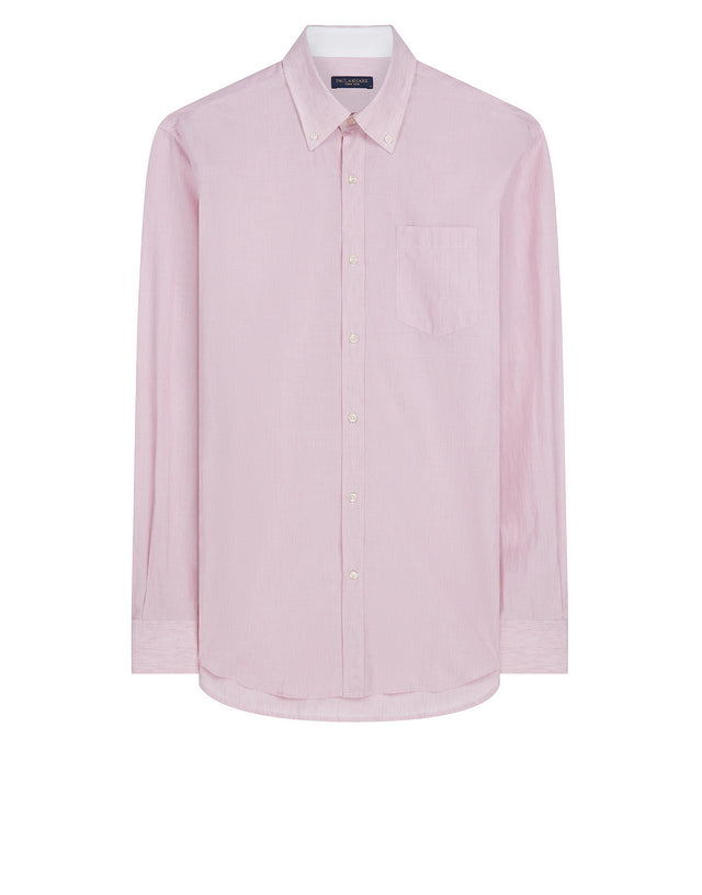Shark Fit Button-Down Stripe Shirt in Pink