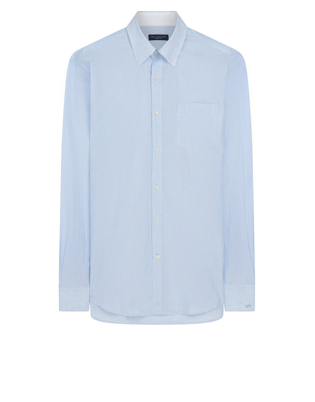 Shark Fit Button-Down Stripe Shirt in Light Blue