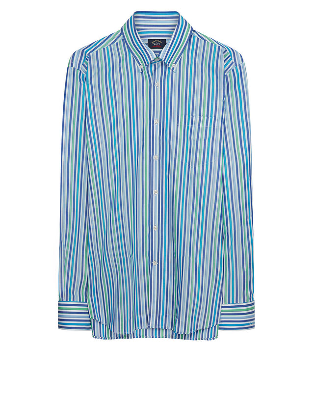 Button-Down Stripe Shirt in Green/White