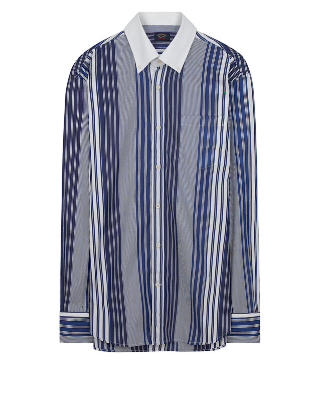 Contrast Collar Stripe Shirt in Blue