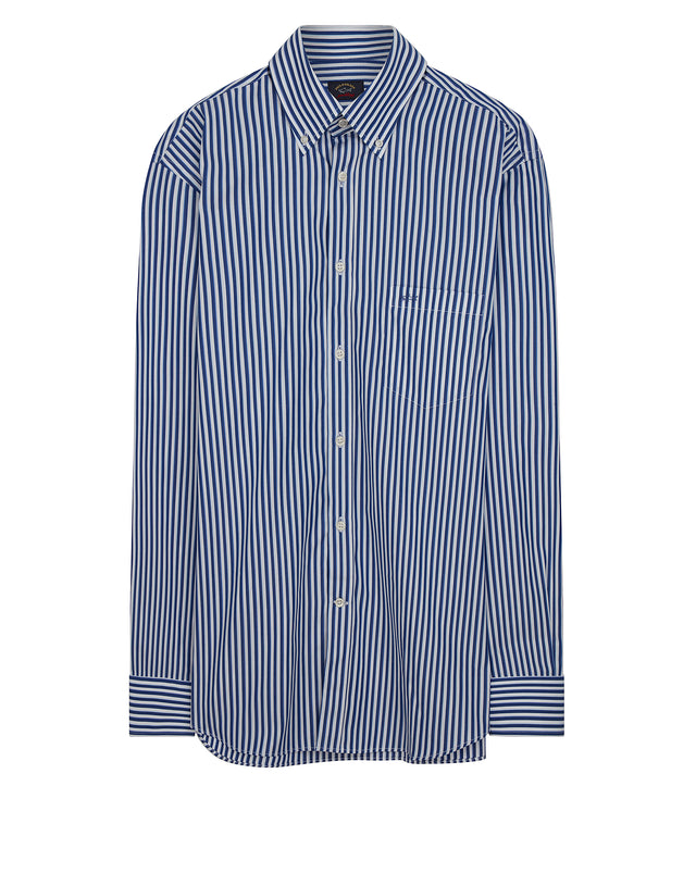 Button-Down Stripe Shirt in Light Blue
