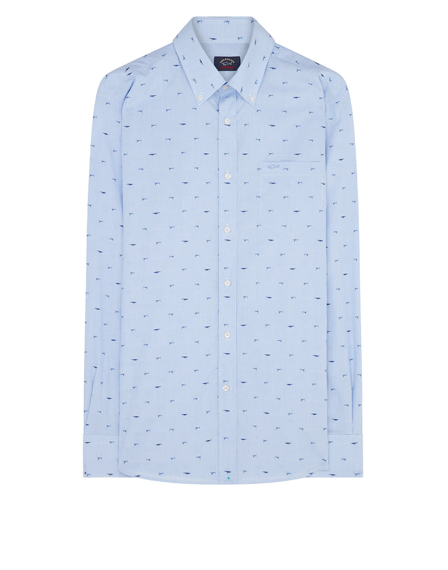 Shark Embroidered Button-Down Shirt in Light Blue