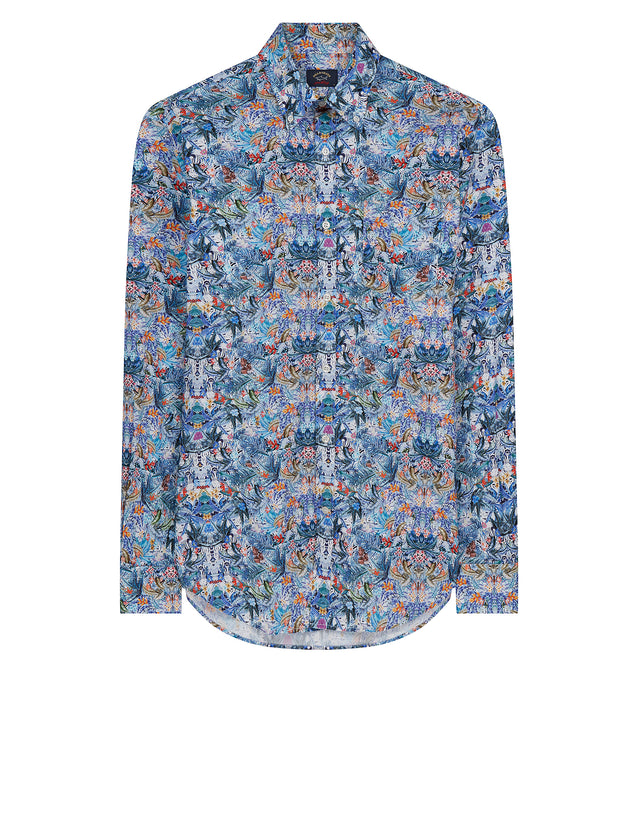 Button-Down Fantasia Flora Print Shirt in Fantasia