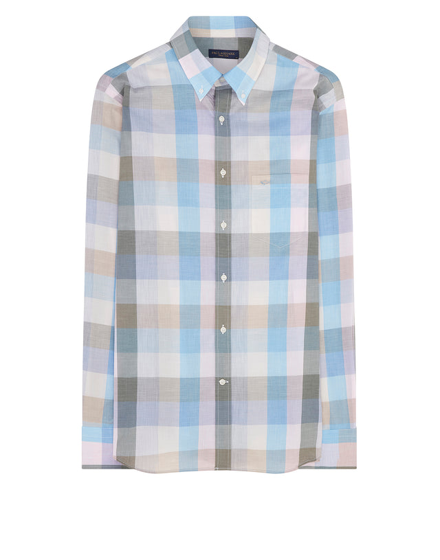 Button-Down Check Shirt in Ecru