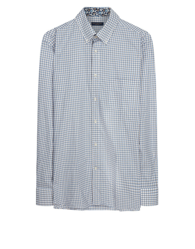 Button-Down Check Shirt in Beige Check