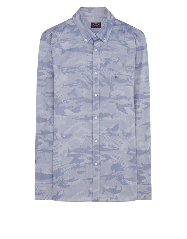 Button-Down Sharkflage Shirt in Light Blue