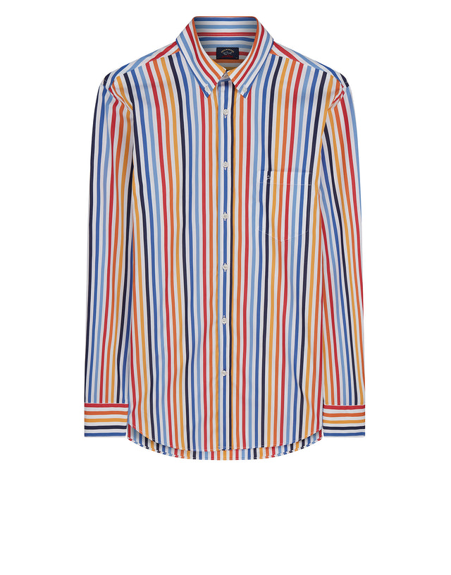Button-Down Multi Stripe Shirt in Orange