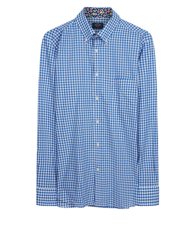 Button-Down Check Shirt in Blue Check