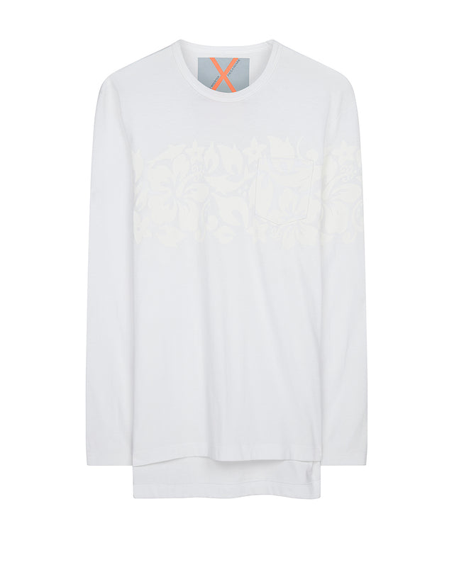 Cotton Crew Long Sleeve T-Shirt in White