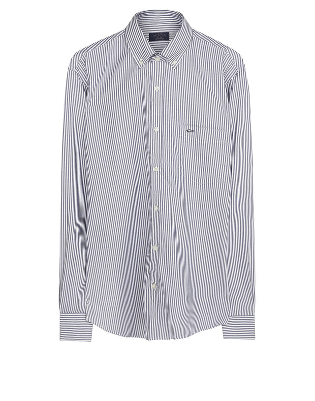 Long Sleeve Striped Shirt in Grey & White