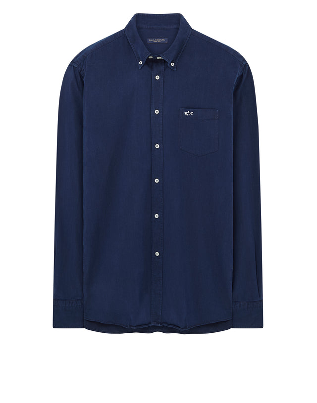 Shark Button Collar Shirt in Blue