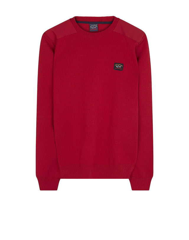 Shark Fit Logo Wool Sweatshirt with Shoulder Pads in Red