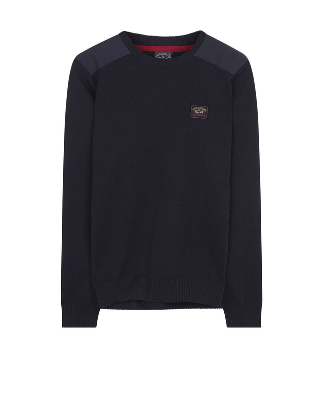 Shark Fit Logo Wool Sweatshirt with Shoulder Pads in Navy