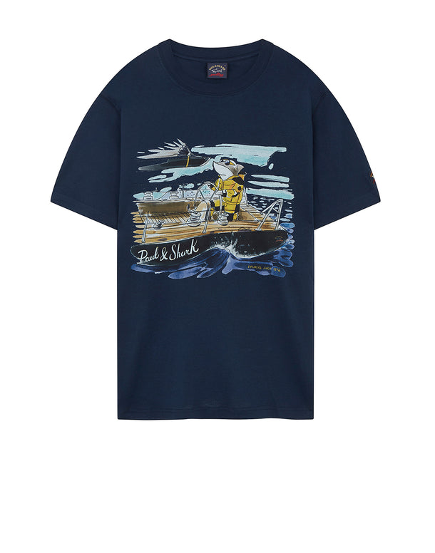 Yachting Shark Graphic T-Shirt in Blue
