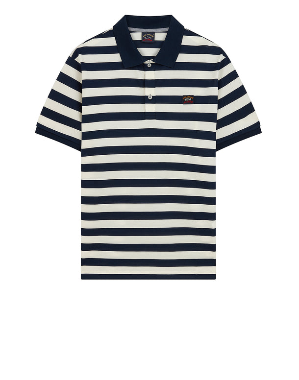 Striped Logo Badge Polo Shirt in Blue/Cream