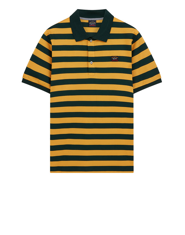 Striped Logo Badge Polo Shirt in Dark Green/Ocher