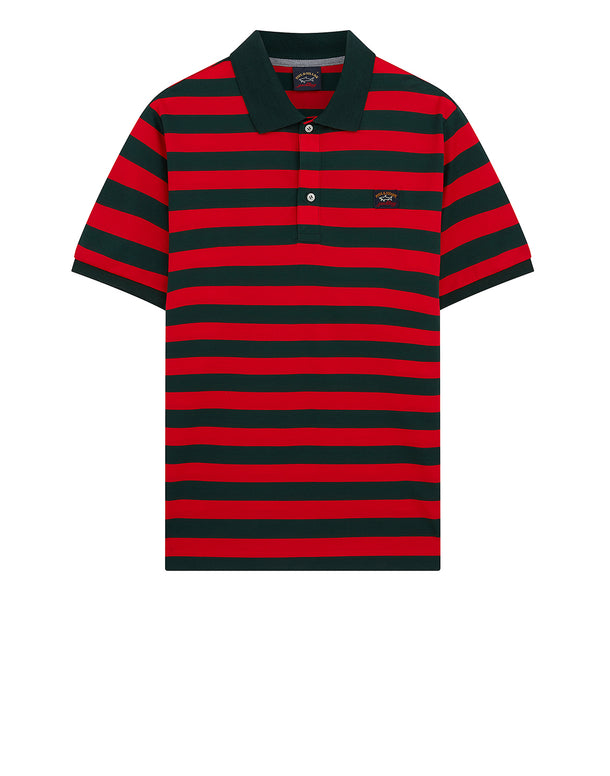 Striped Logo Badge Polo Shirt in Dark Green/Red