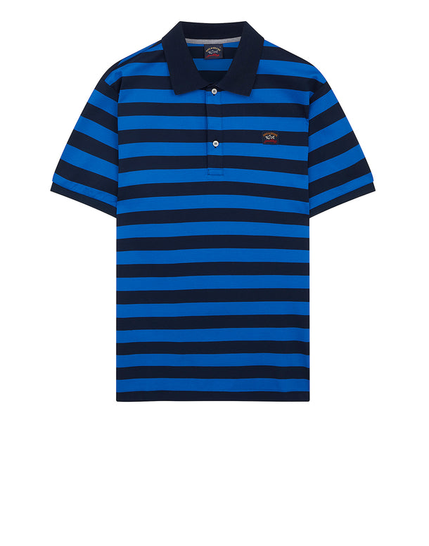 Striped Logo Badge Polo Shirt in Blue/Cobalt Blue