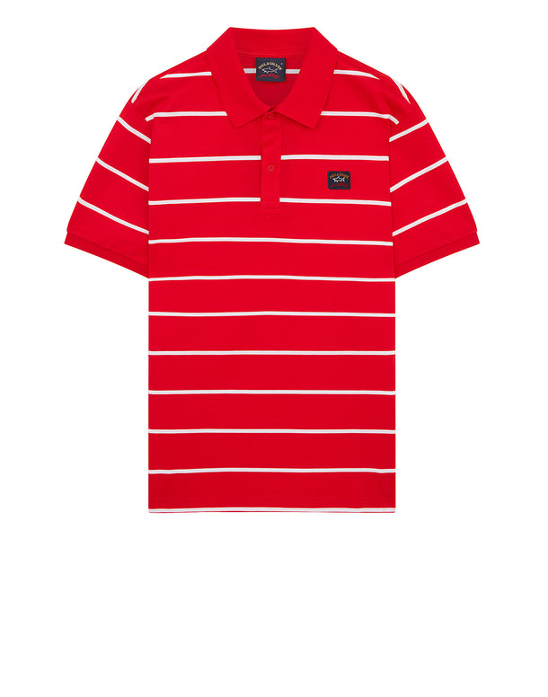 Thin Striped Polo Shirt in Red/White