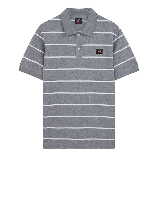 Thin Striped Polo Shirt in Grey/White