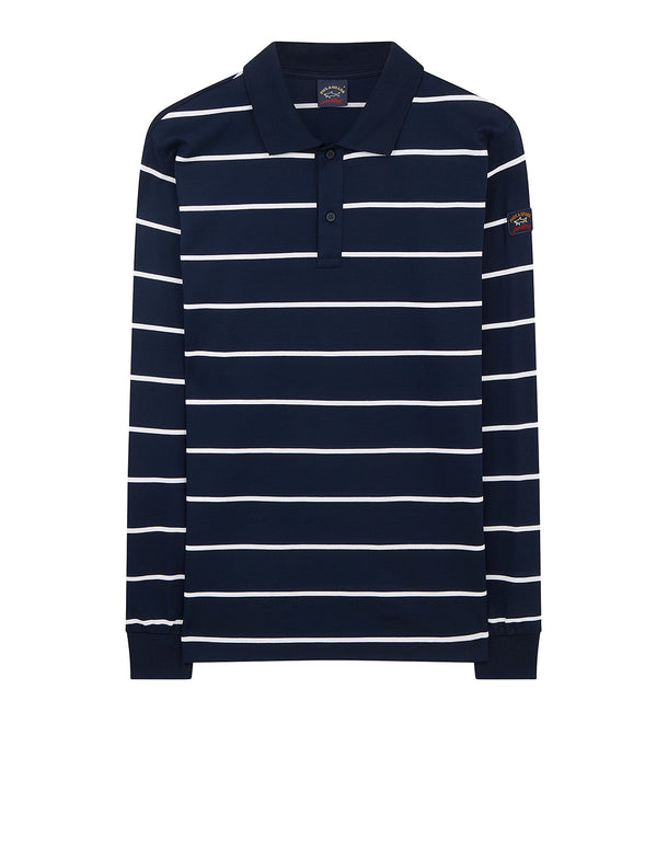 Thin Striped Long Sleeve Polo Shirt in Blue/White