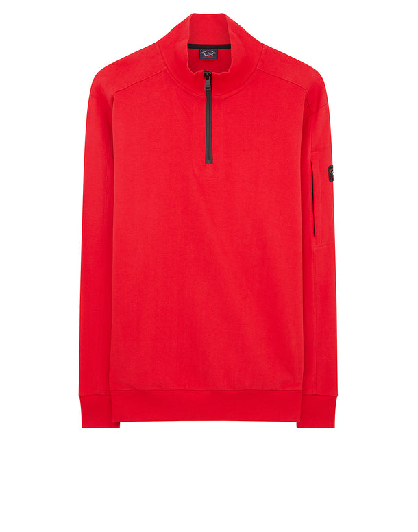 Quarter Zip Utility Sweater in Red