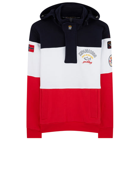 Kipawa 1938 Stand Collar Sweatshirt in Blue/White/Red