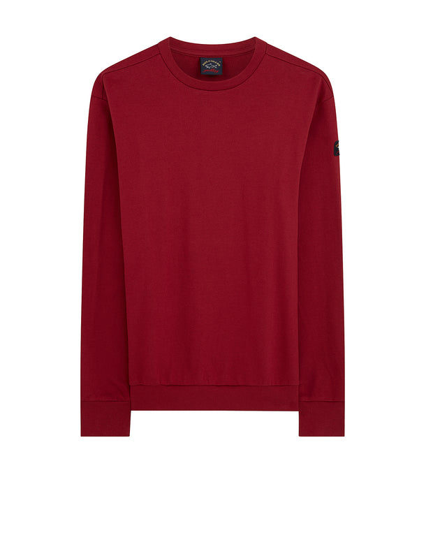 Sleeve badge Crew Sweatshirt in Dark Wine