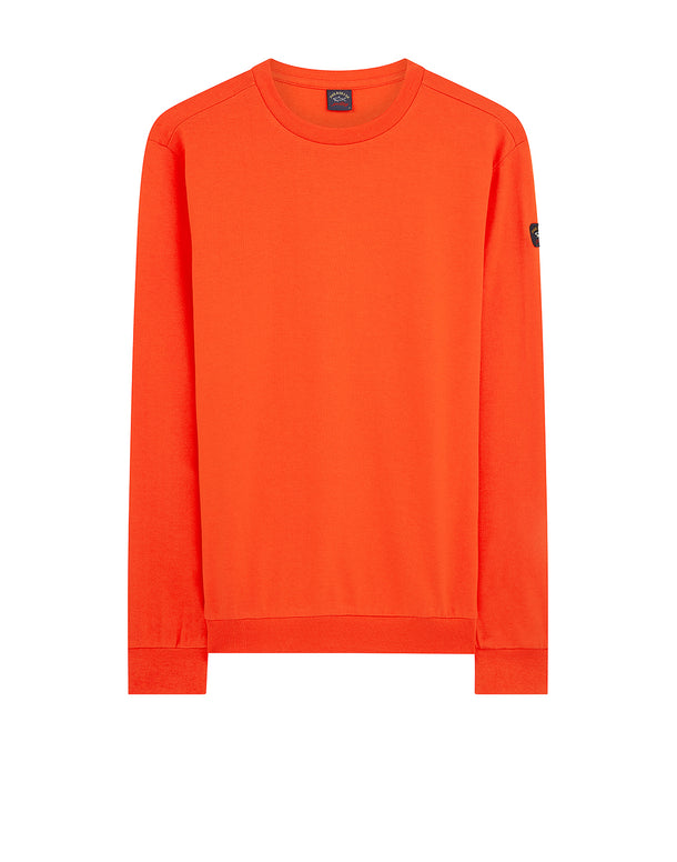 Sleeve badge Crew Sweatshirt in Orange