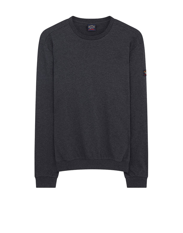 Sleeve badge Crew Sweatshirt in Charcoal