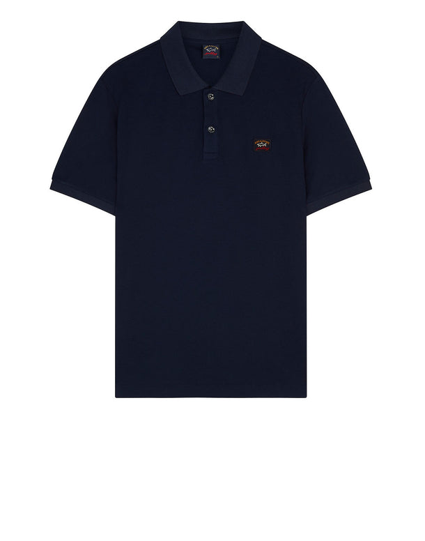 Cotton Polo Shirt With Chest Patch in Blue