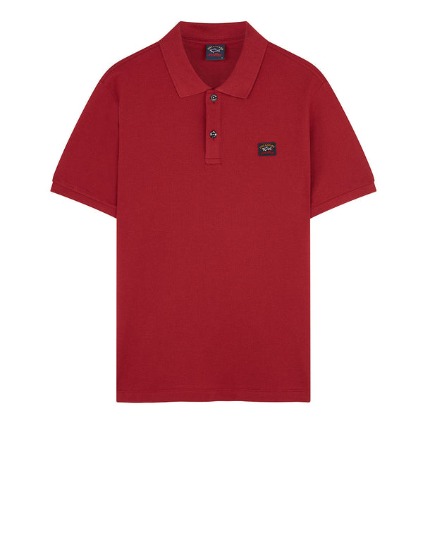 Cotton Polo Shirt With Chest Patch in Dark Wine