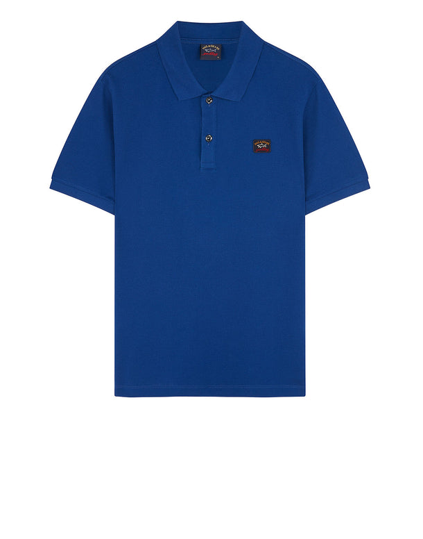 Cotton Polo Shirt With Chest Patch in Royal Blue