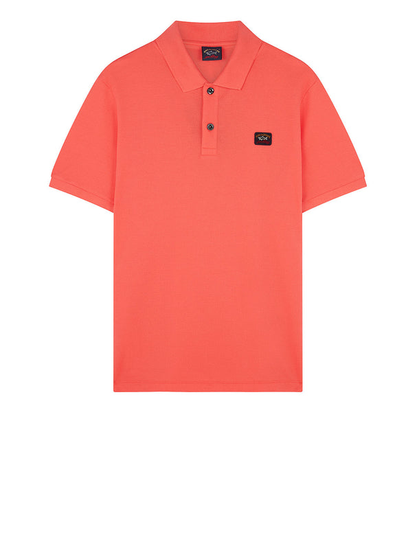 Cotton Polo Shirt With Chest Patch in Lobster