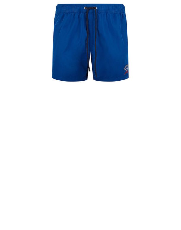 Embroidered Logo Swim Shorts in Cobalt Blue