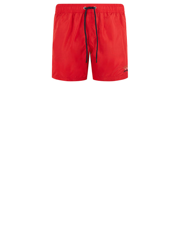 Embroidered Logo Swim Shorts in Red