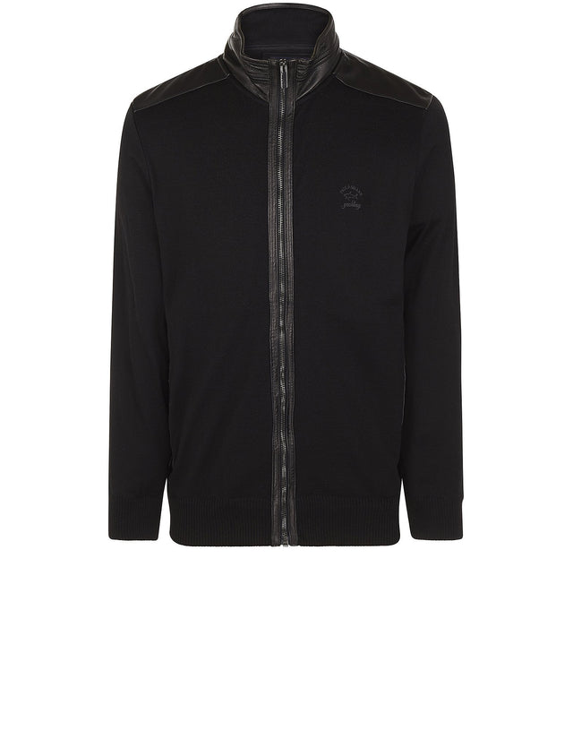 Wool Blouson with Leather Trim Details in Black