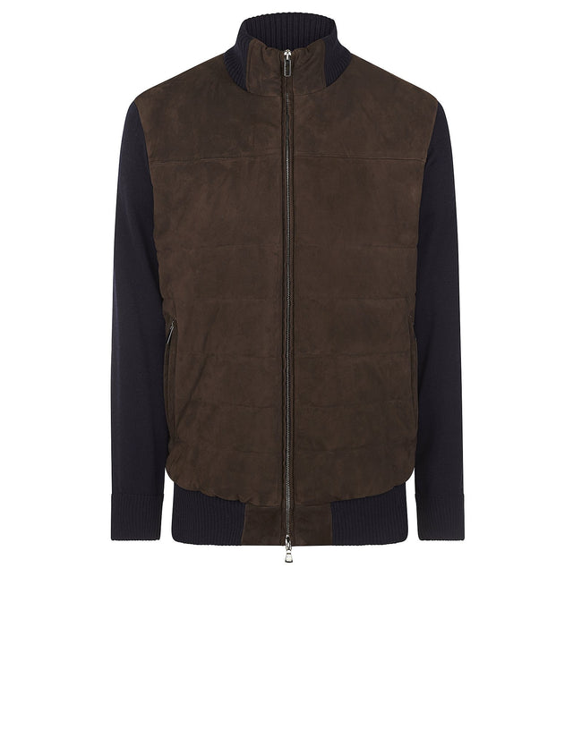 Blue Wool Blouson with Suede Body in Brown