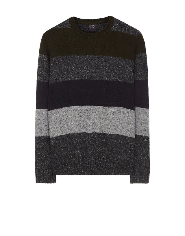 Striped Wool Blend Shark Fit Jumper in Multi