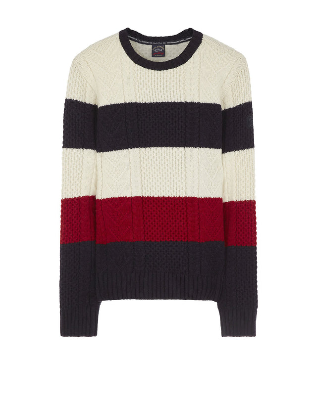 Striped Wool Shark Fit Jumper in Multi