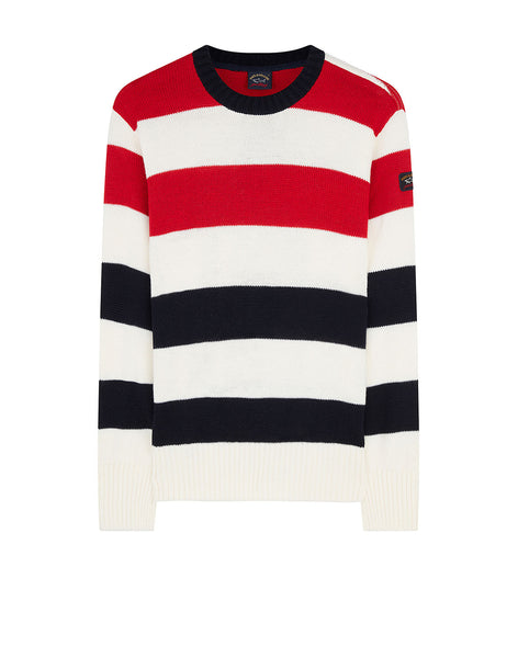 Striped Logo Badge Sweater in Cream Blue Red