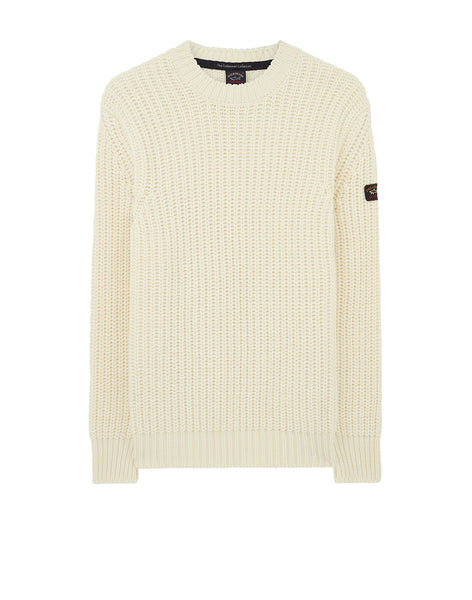 Ribbed Crew Neck Sweater in Off White